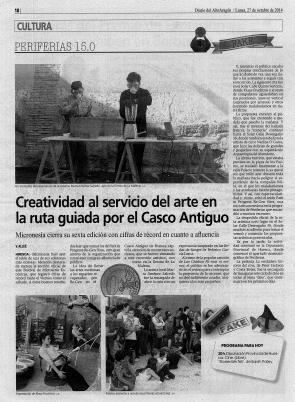 Alto Aragón Newspaper, October 27th 2014, Spain