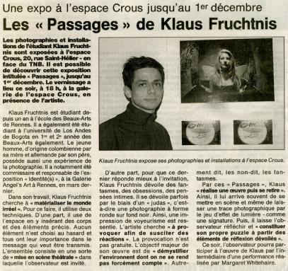 Ouest France Newspaper, November 12th 2001, France