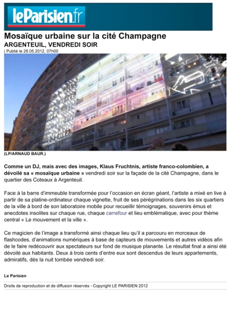 Le Parisien, May 28th 2012, France